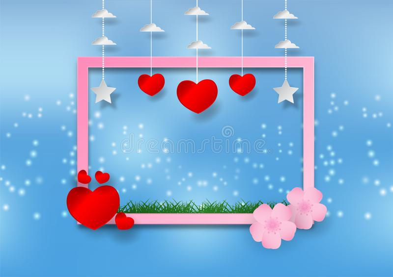 Stile di carta di arte del fiore con cuore e del telaio su fondo blu vector l'illustrazione, concetto del giorno del ` s del bigl illustrazione vettoriale