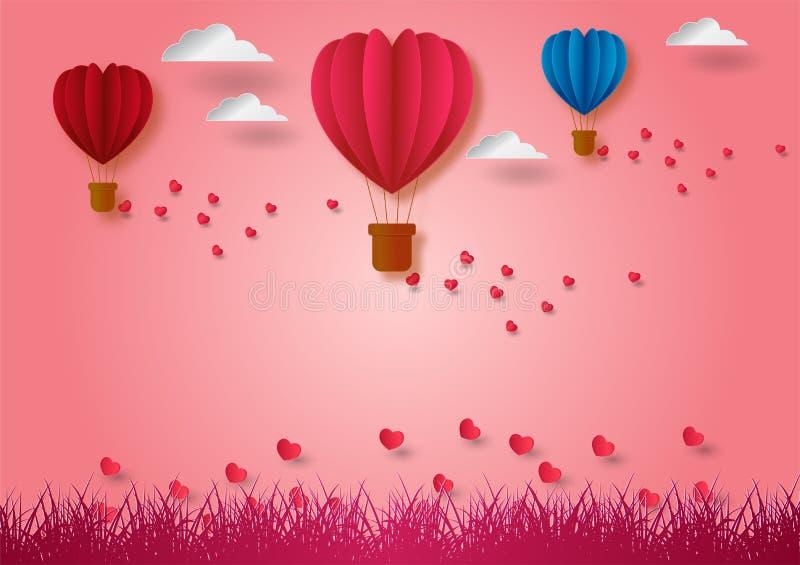 Stile di carta di arte di forma dei palloni del volo del cuore con il fondo rosa, illustrazione di vettore, concetto di giorno de illustrazione vettoriale