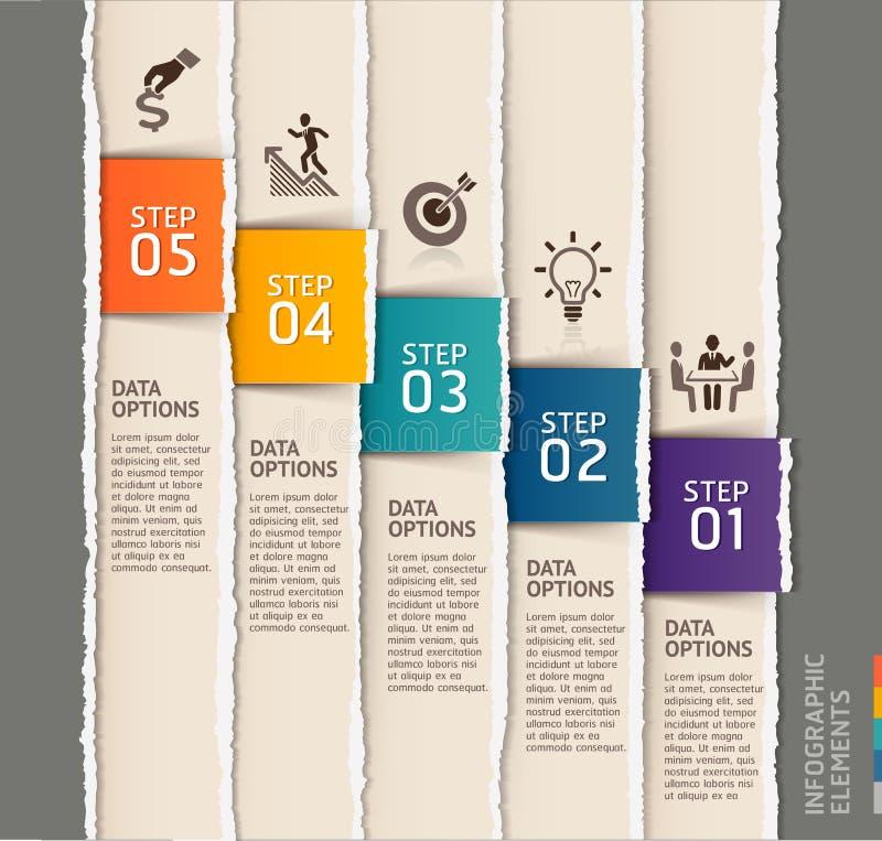 Stile di carta lacerato del modello moderno di infographics illustrazione vettoriale