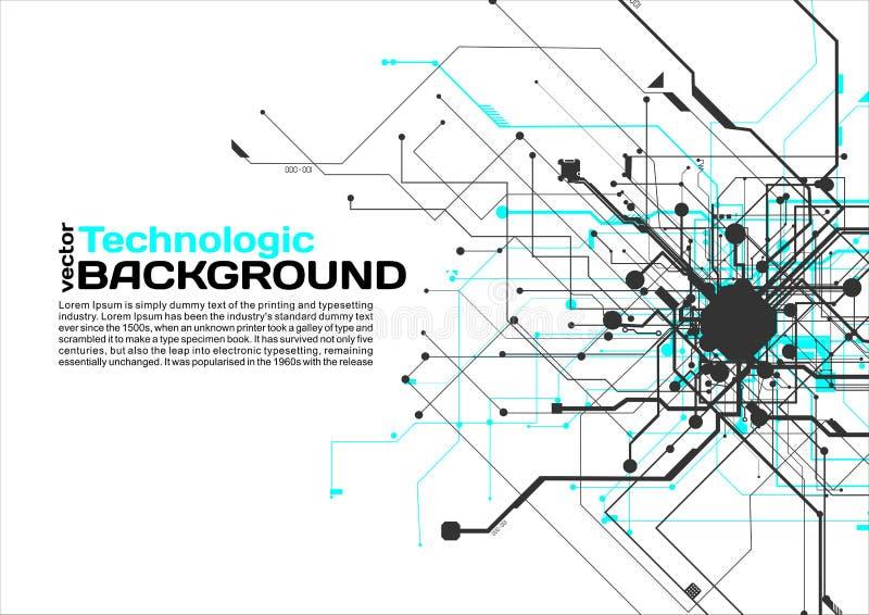 stile di fantascienza di Cyberpunk del fondo del absract di tecnologia di ciao-tecnologia illustrazione di stock