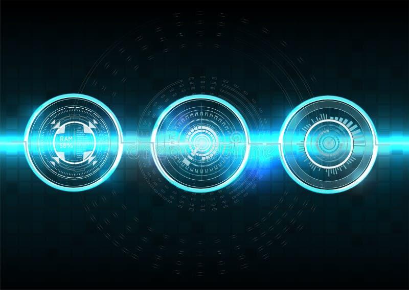Stile di Hud Estratto di scienza di vettore Illustrazione di vettore Interfaccia utente futuristica Cielo-fi HUD Elementi astratt illustrazione vettoriale