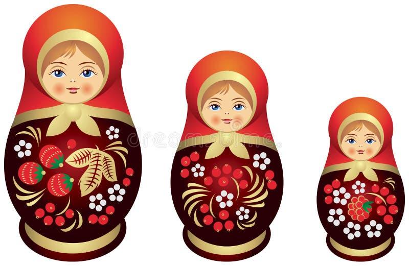 Stile di Khokhloma della famiglia della bambola di Matryoshka illustrazione di stock