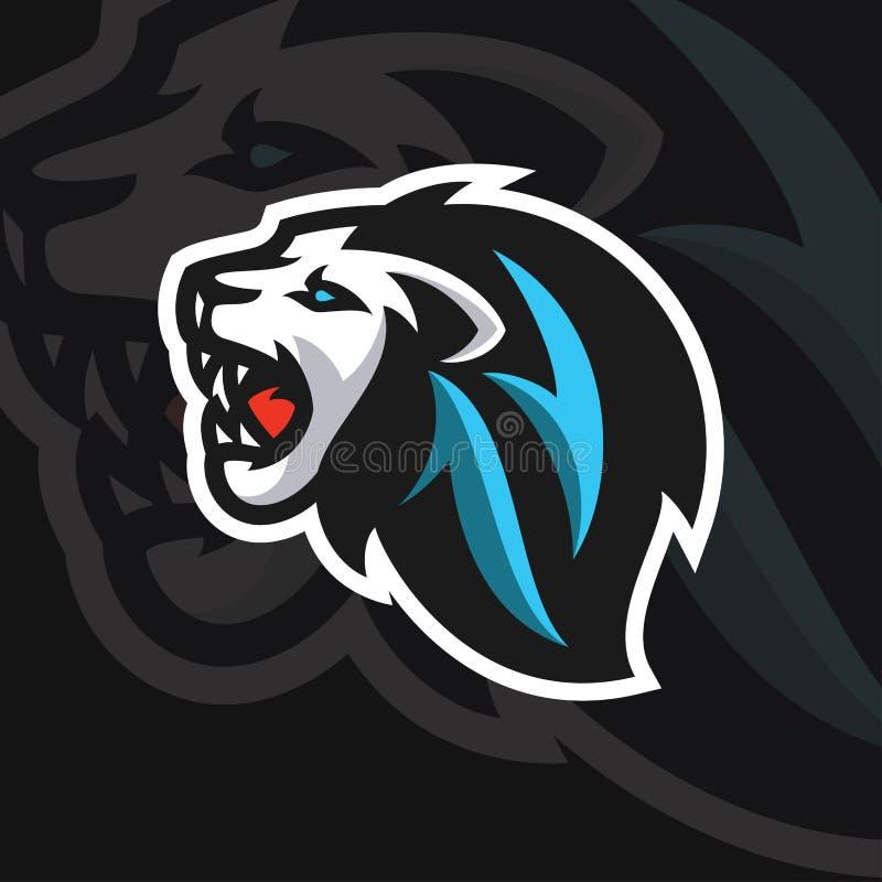 Stile di logo di sport della testa e del leone illustrazione vettoriale