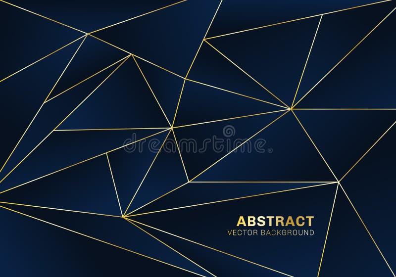 Stile di lusso del modello poligonale astratto su fondo blu con le linee dorate royalty illustrazione gratis