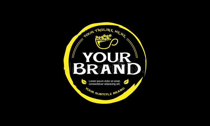 Stile di oldschool di marca di logo del caffè immagini stock libere da diritti