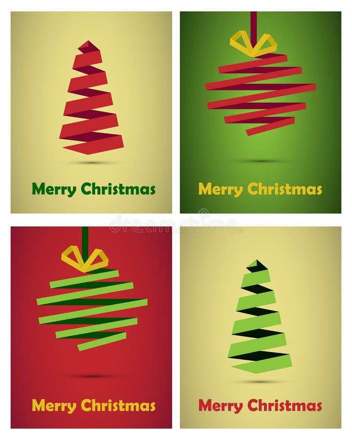 Stile di origami delle cartoline di Natale royalty illustrazione gratis