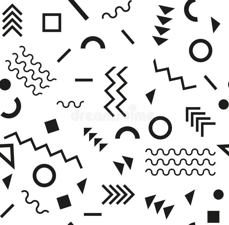 Stile di retro modo 80s o 90s dell'annata Modello senza cuciture di Memphis Elementi geometrici d'avanguardia Disegno astratto mo illustrazione vettoriale