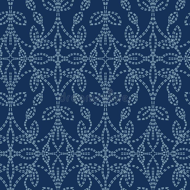 Stile di sashiko di motivo del damasco della foglia r Stampa del tessuto della linea blu dell'indaco del punto della mano illustrazione di stock