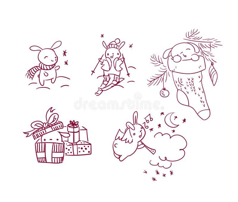 Stile di scarabocchio della cartolina di Natale del carattere del nuovo anno dell'insieme del coniglietto royalty illustrazione gratis