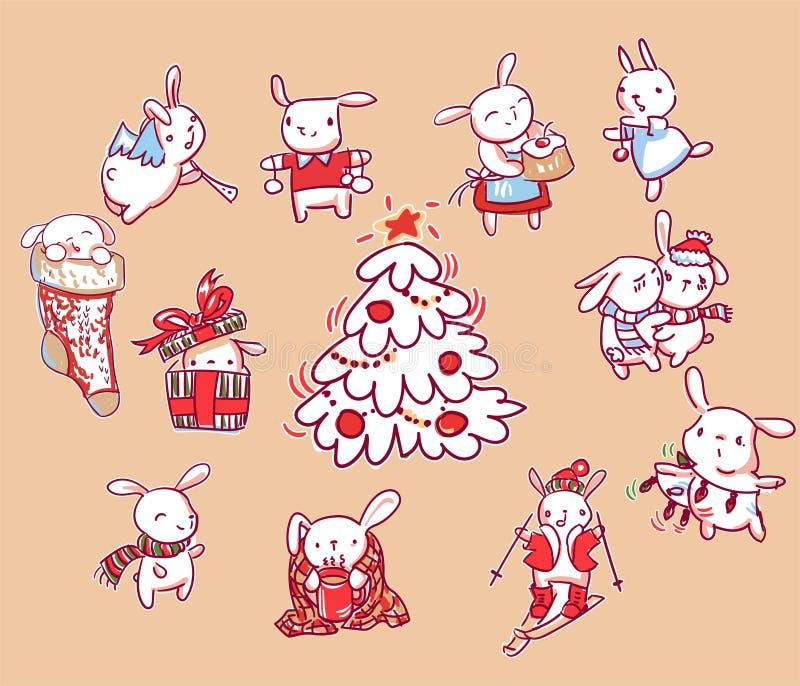 Stile di scarabocchio della cartolina di Natale del carattere del nuovo anno dell'insieme del coniglietto illustrazione vettoriale