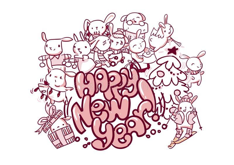 Stile di scarabocchio della cartolina di Natale del coniglietto del buon anno illustrazione di stock