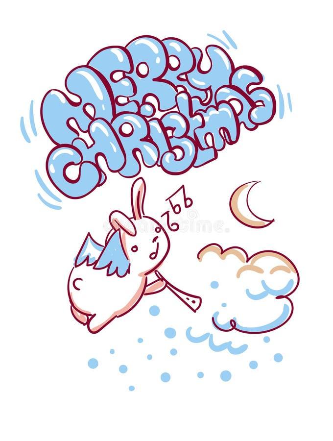 Stile di scarabocchio della cartolina di Natale di notte di angelo del coniglietto royalty illustrazione gratis