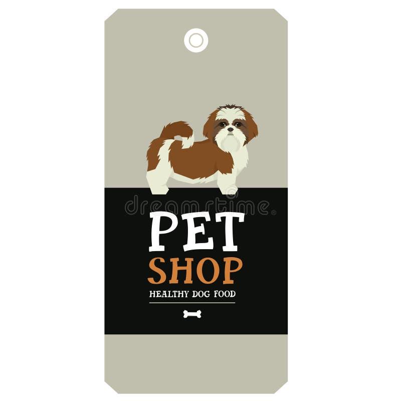 Stile di Shih Tzu Geometric dell'etichetta di progettazione del negozio di animali del manifesto royalty illustrazione gratis