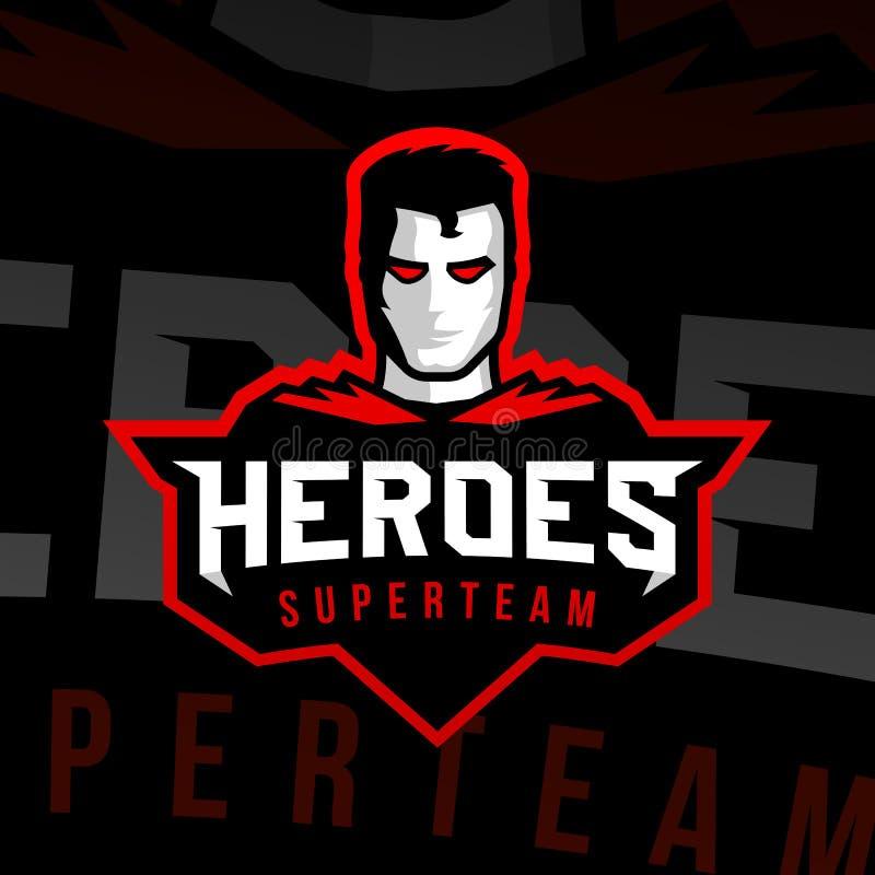 Stile di sport di logo del supereroe illustrazione di stock