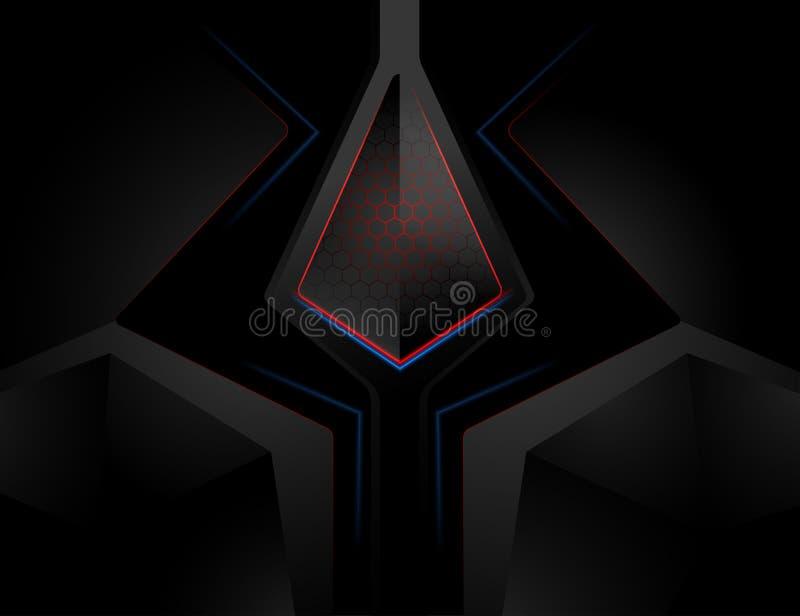 Stile di superficie techno del metallo nella scena scura illustrazione di stock