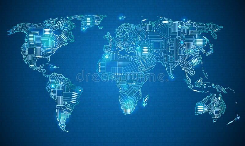 Stile di tecnologia della mappa di mondo illustrazione vettoriale