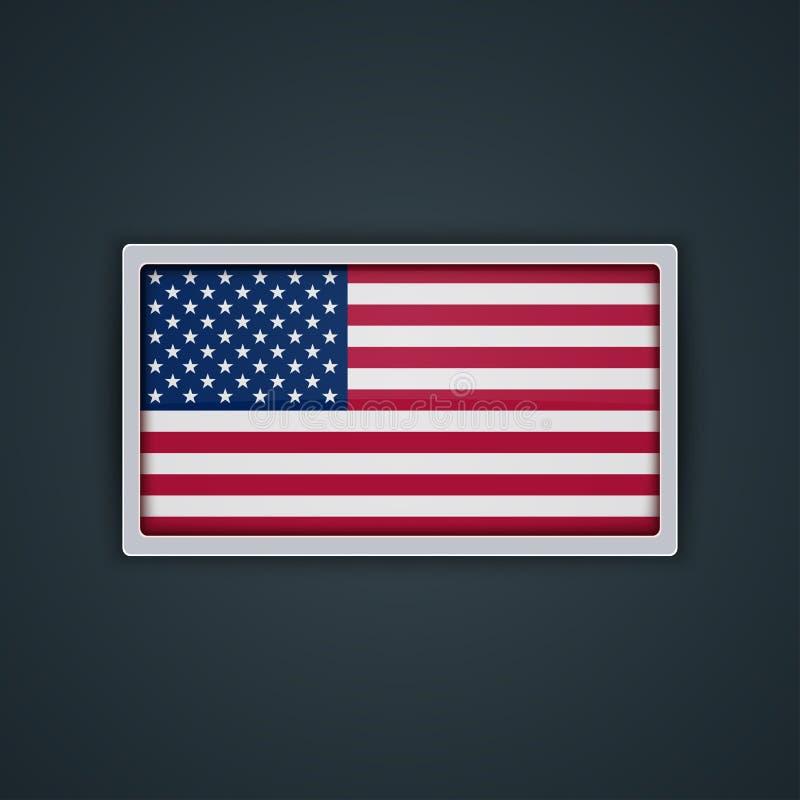 Stile di vetro del bottone della bandiera degli Stati Uniti con la struttura del metallo illustrazione vettoriale