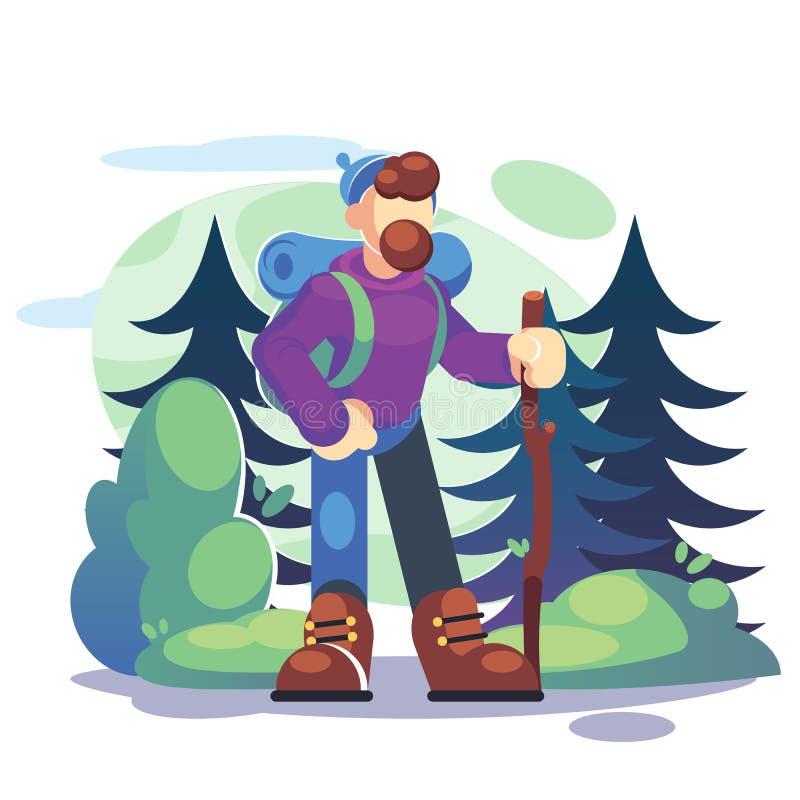 Stile di vita attivo, concetto di turismo Una viandante del giovane sta stando in una foresta con uno zaino - illustrazione piana fotografie stock