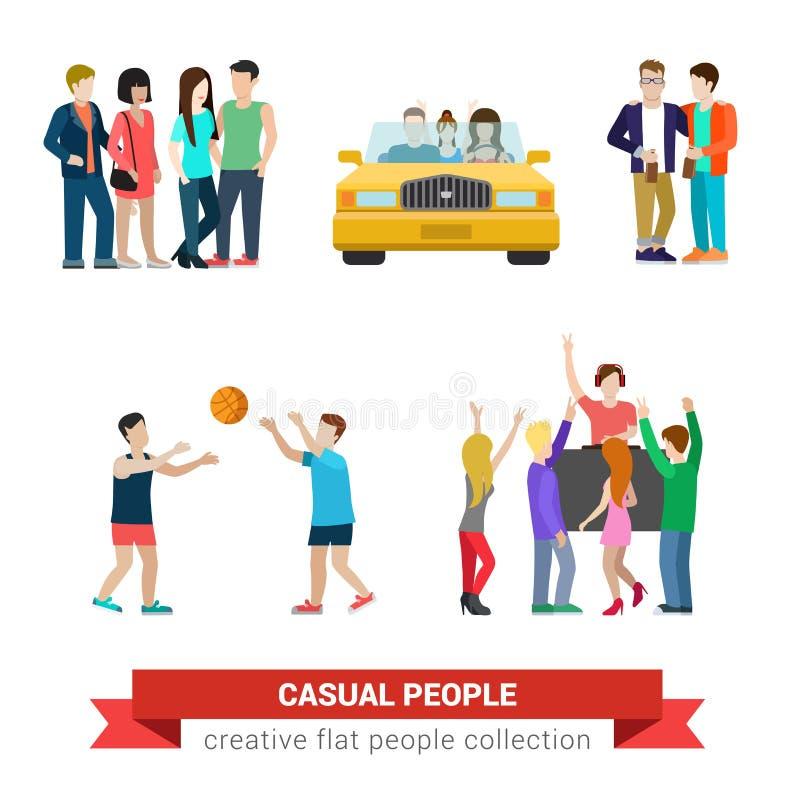 Stile di vita casuale della gente di vettore piano: coppie, partito, amici illustrazione di stock