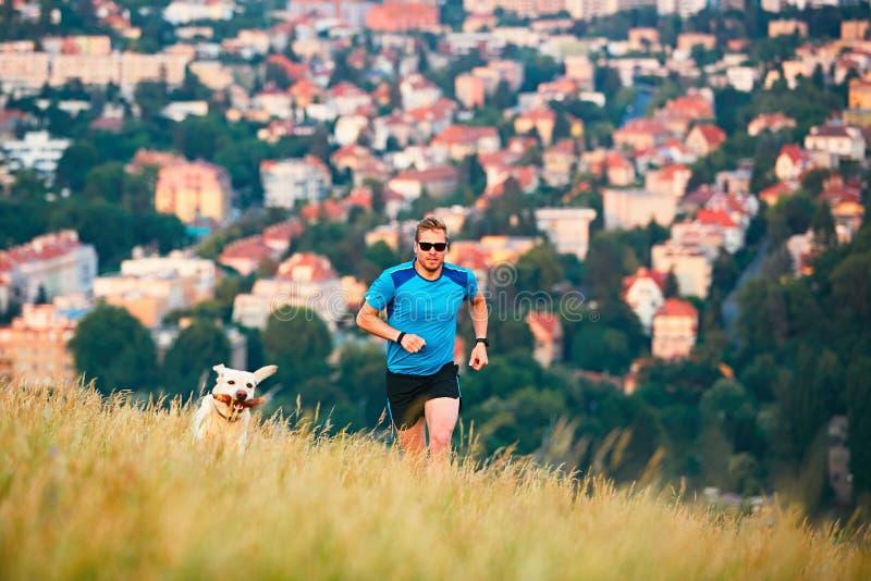 Stile di vita di sport con il cane fotografie stock