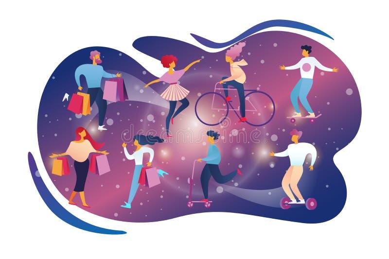 Stile di vita felice di attivit? di svago di hobby della gente illustrazione di stock