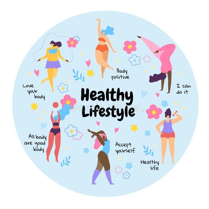 Stile di vita sano delle ragazze di peso eccessivo positive del corpo royalty illustrazione gratis