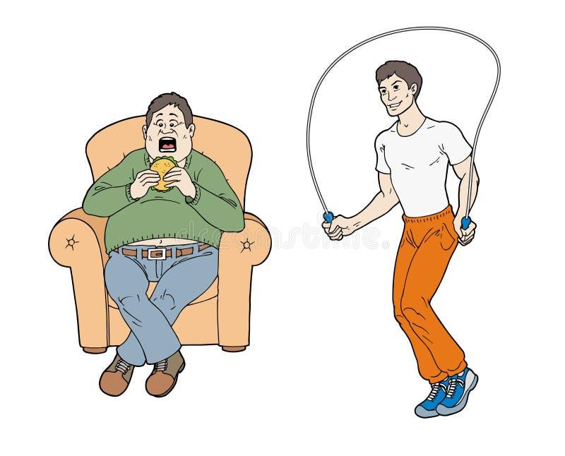 Stile di vita sano e non sano illustrazione vettoriale