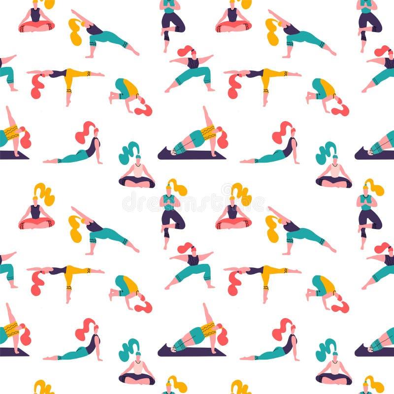 Stile di vita sano Giorno di salute di mondo Modello senza cuciture di vettore con la classe di yoga con meditare della gente, fa royalty illustrazione gratis