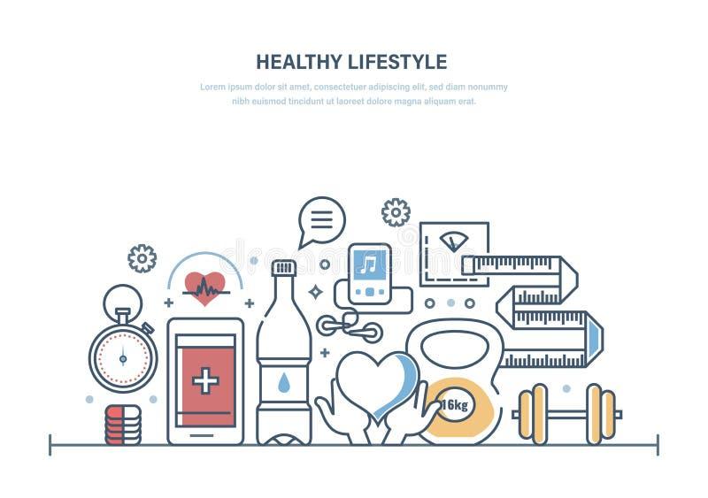 Stile di vita sano, sanità, funzione medica, ambulanza Cibo sano, forma di mantenimento royalty illustrazione gratis