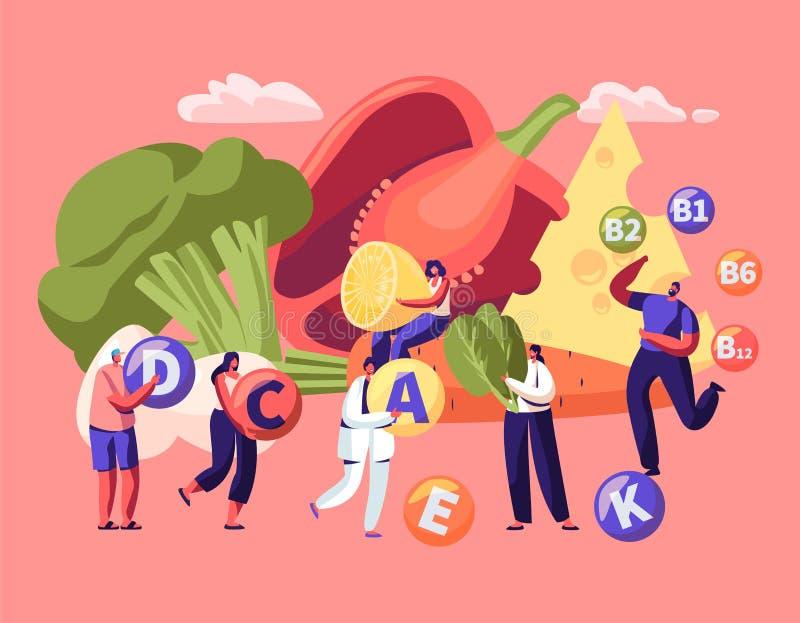 Stile di vita sano, scelta dell'alimento biologico Vitamine in prodotti Infographic Frutta, verdure, formaggio ed uova come fonte royalty illustrazione gratis