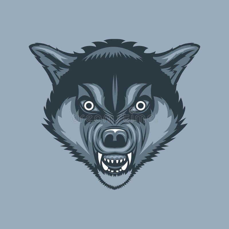 Stile diabolico e spaventoso del tatuaggio del lupo royalty illustrazione gratis