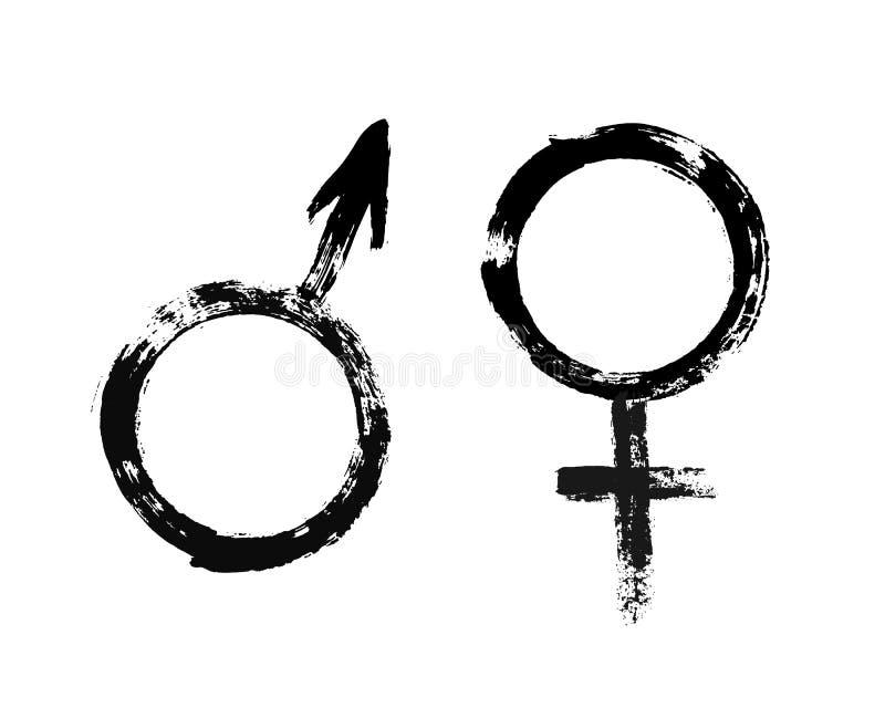 Stile dipinto lerciume femminile maschio di simboli illustrazione di stock
