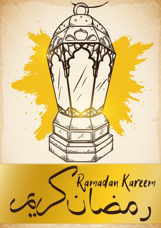 Stile disegnato acceso della lanterna a disposizione per Ramadan Celebration, illustrazione di vettore royalty illustrazione gratis