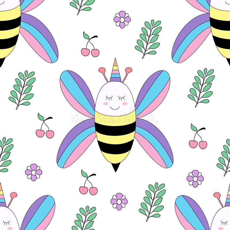 Stile disegnato a mano del modello del fumetto sveglio senza cuciture dell'ape fotografia stock libera da diritti