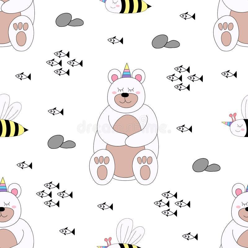 Stile disegnato a mano del modello del fumetto sveglio senza cuciture dell'orso fotografia stock libera da diritti