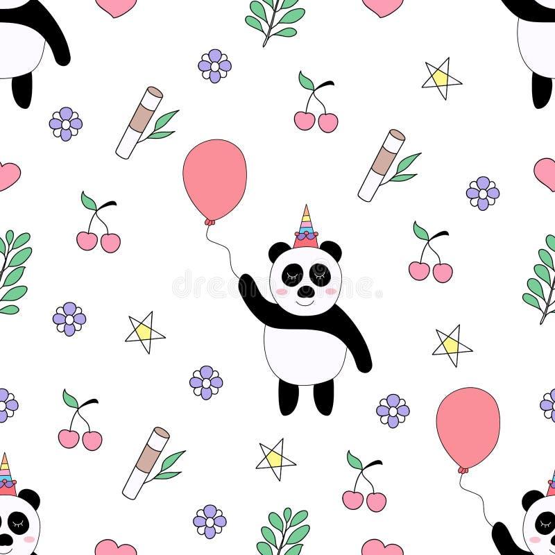 Stile disegnato a mano del modello del fumetto sveglio senza cuciture del panda fotografia stock