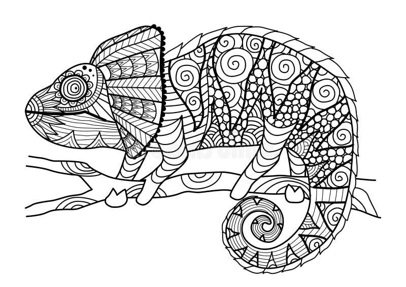 Stile disegnato a mano dello zentangle del camaleonte per il libro da colorare, l'effetto di progettazione della camicia, il logo illustrazione vettoriale