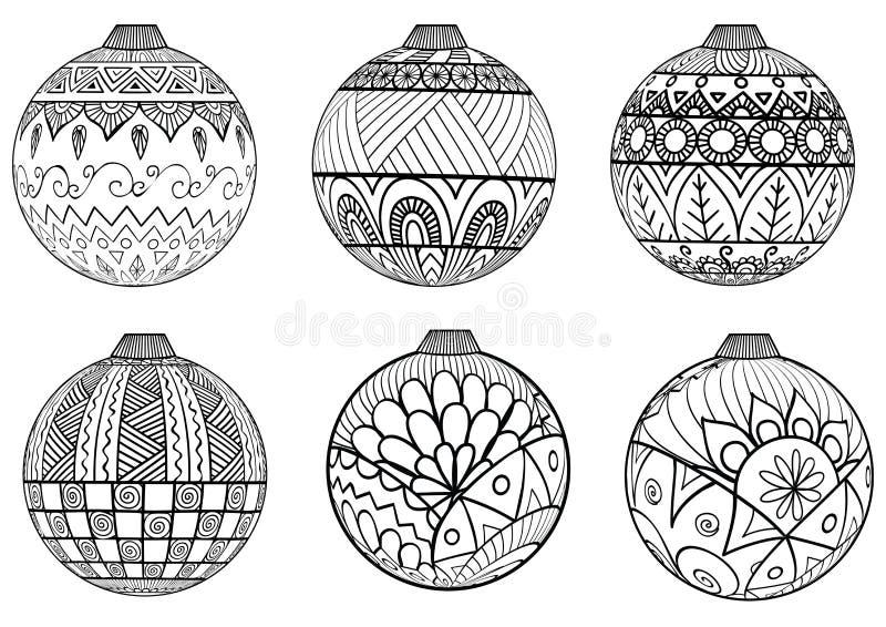 Stile disegnato a mano dello zentangle delle palle di Natale per il libro da colorare illustrazione di stock