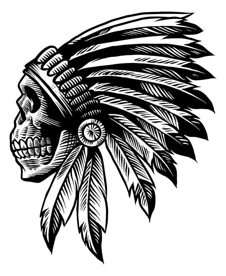 Stile disponibile del disegno del capo indiano del cranio for Stile architettonico del capo cod