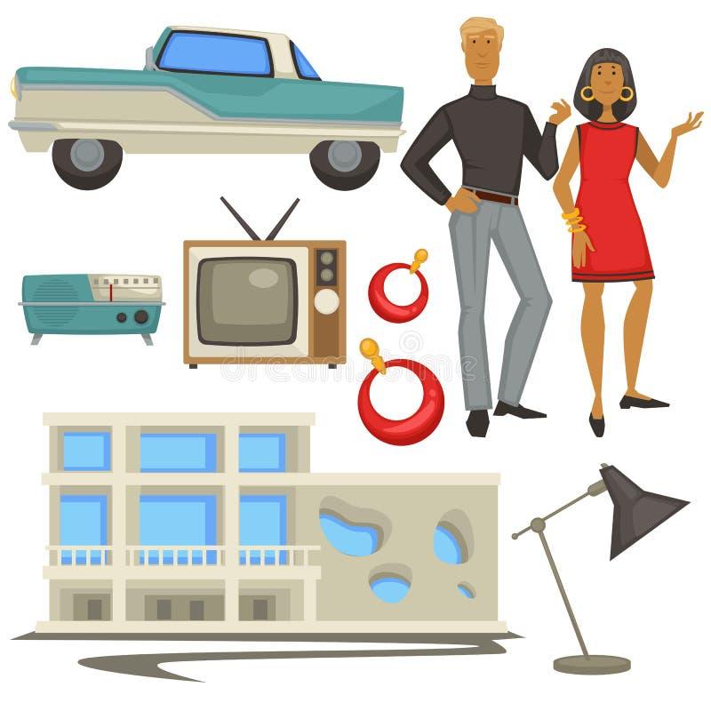 stile ed architettura di modo degli anni 60, simboli di epoca, uomo e donna illustrazione di stock