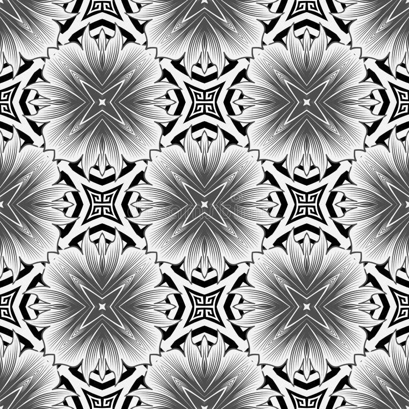 Stile elegante in bianco e nero in stile floreale senza saldatura Sfondo monocromatico ornamentale vettoriale Bellissimo royalty illustrazione gratis
