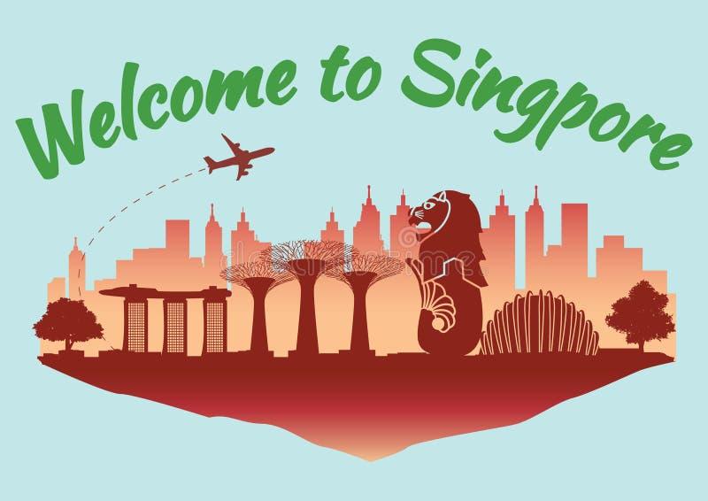 Stile famoso della siluetta del punto di riferimento di Singapore sull'isola rossa del galleggiante e testo di nome di paese, via illustrazione vettoriale