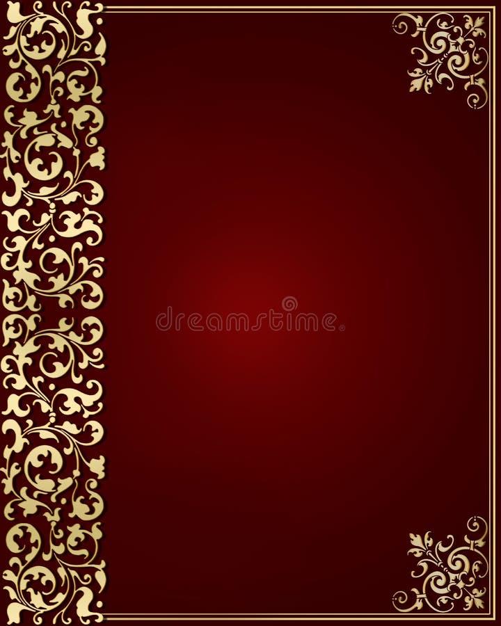 Stile floreale dell'oggetto d'antiquariato del modello dell'oro illustrazione di stock