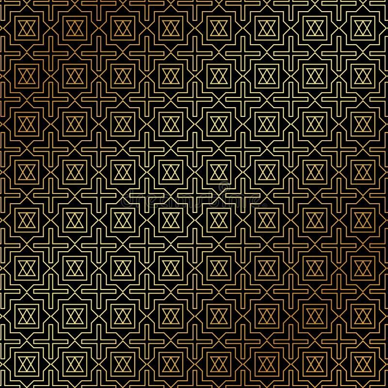 Stile geometrico di art deco del modello dell'oro astratto sul backgrou nero illustrazione vettoriale