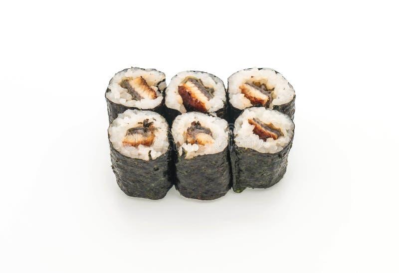 stile giapponese dell'alimento dei sushi di maki dell'anguilla fotografie stock