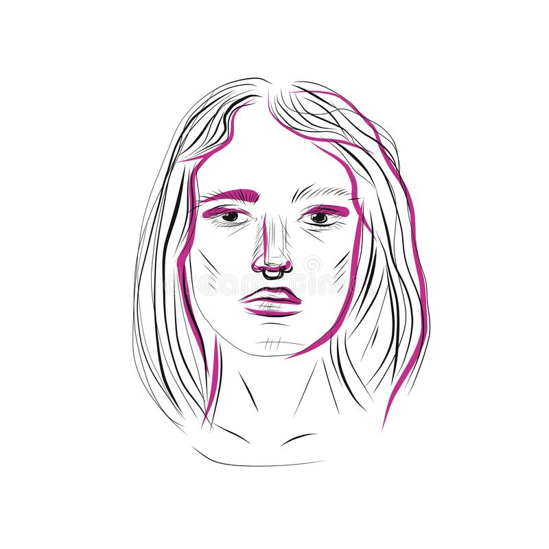 Stile grafico di minimalismo del ritratto della donna di modo di bellezza royalty illustrazione gratis