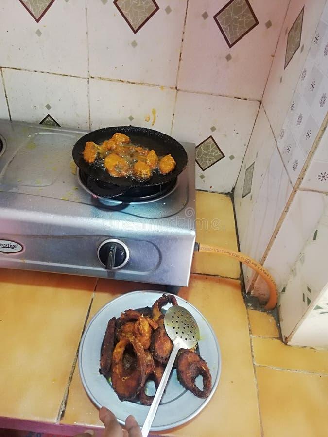 Stile indiano Salmon Fish Fry Home Made dell'alimento delizioso fotografia stock libera da diritti