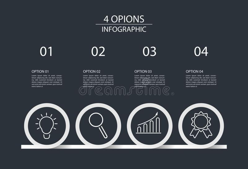 Stile infographic del cerchio del modello di progettazione di quattro punti illustrazione di stock