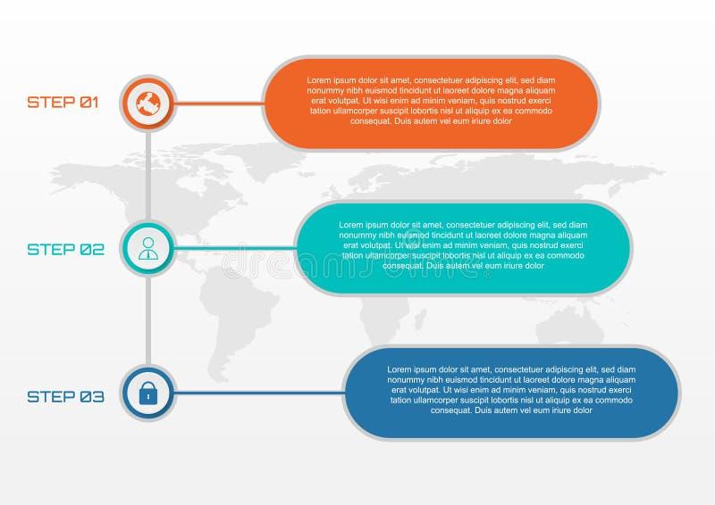 Stile infogrphic di affari verticali, 3 bottoni con la mappa di mondo sopra illustrazione vettoriale