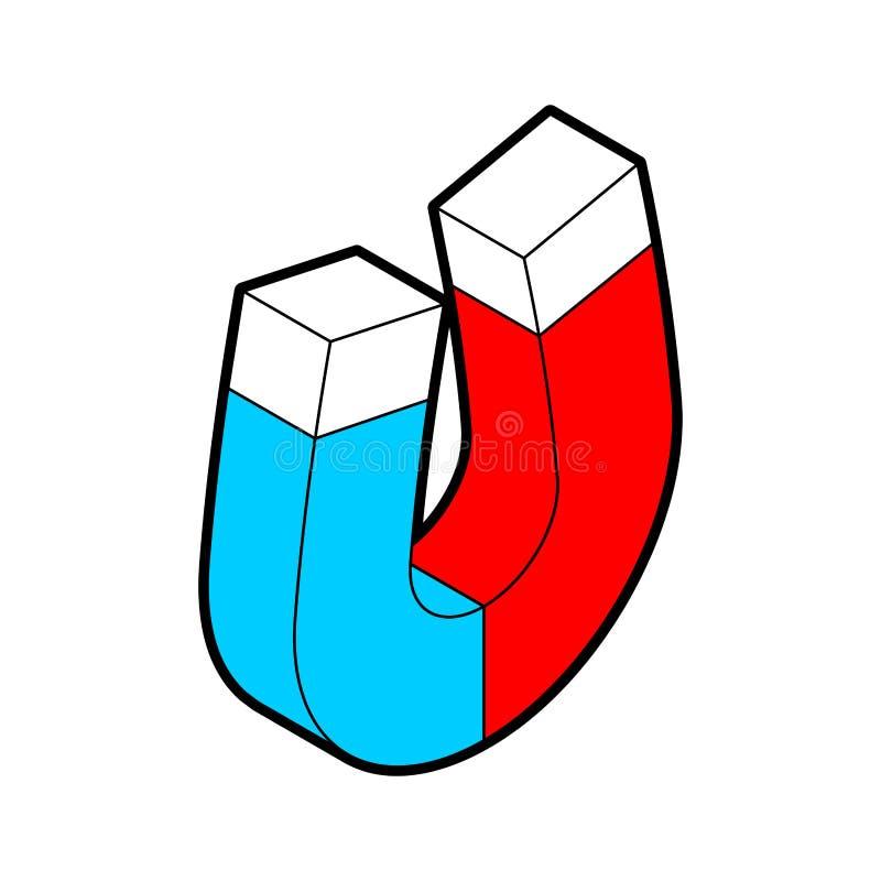 Stile isometrico del magnete isolato illustrazione di vettore della magnetite royalty illustrazione gratis